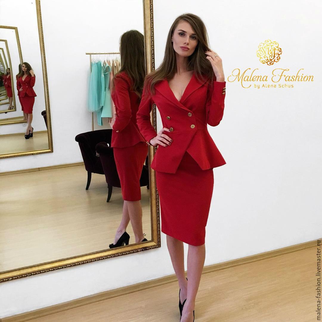 Деловой костюм женский красный доставка