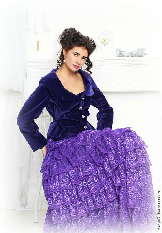 Юбки ручной работы. Ярмарка Мастеров - ручная работа. Купить многоярусная юбка.кружево.. Handmade. Тёмно-фиолетовый, длинная юбка