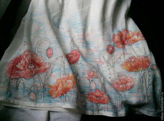 Платья ручной работы. Ярмарка Мастеров - ручная работа. Купить Роспись по льну, платье Маки. Handmade. Ярко-красный