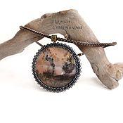 """Украшения ручной работы. Ярмарка Мастеров - ручная работа Кулон """"Долина гейзеров """" с пейзажным моховым агатом на кожаном шнуре. Handmade."""