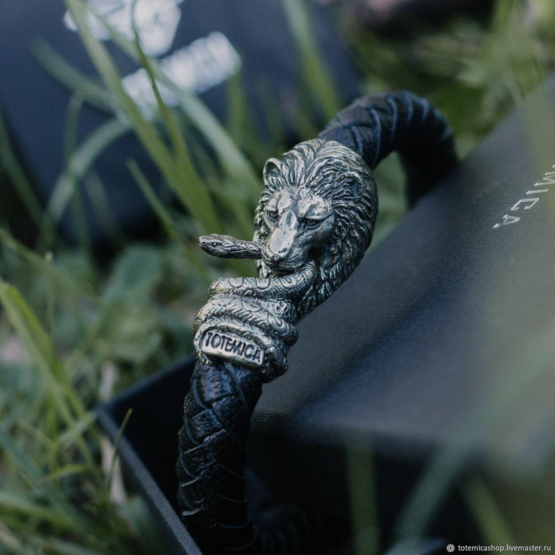 Браслет Лев   Мельхиор   Премиум кожа, Браслет плетеный, Москва,  Фото №1