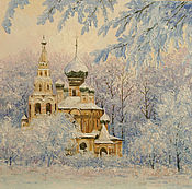 Картины и панно ручной работы. Ярмарка Мастеров - ручная работа зимняя церквушка. Handmade.