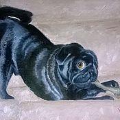 Картины и панно ручной работы. Ярмарка Мастеров - ручная работа Портрет мопса. Handmade.