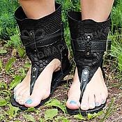 Обувь ручной работы handmade. Livemaster - original item high sandals black suede and leather embossed python. Handmade.