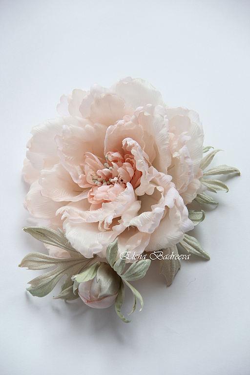 """Свадебные украшения ручной работы. Ярмарка Мастеров - ручная работа. Купить Пион """"Соната"""". Handmade. Бледно-розовый, цветок брошь"""