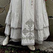 Одежда ручной работы. Ярмарка Мастеров - ручная работа Юбка Бохо льняная длинная с вышивкой. Handmade.