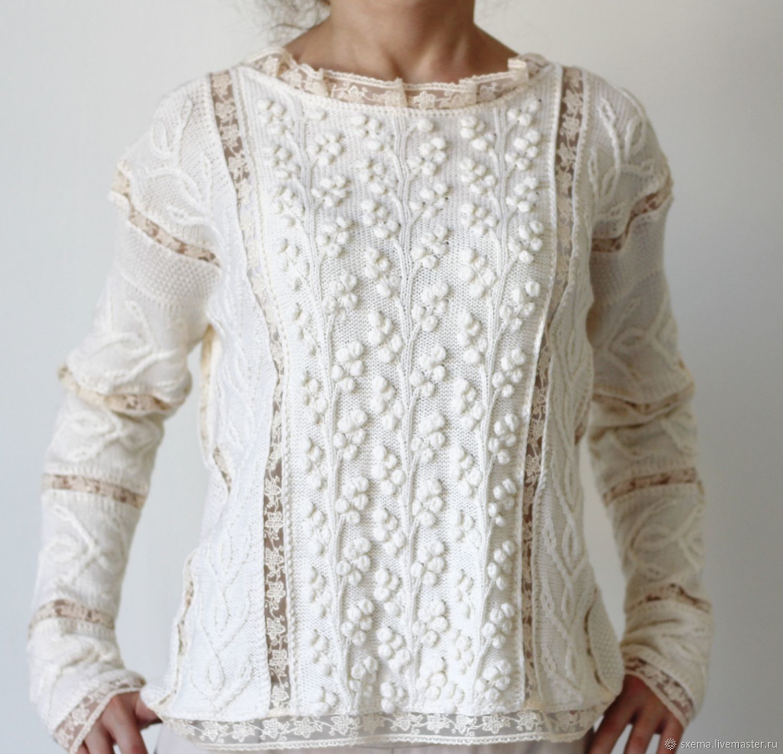 Women's white lightweight pullover Italian Merino lace, Pullover Sweaters, Novorossiysk,  Фото №1