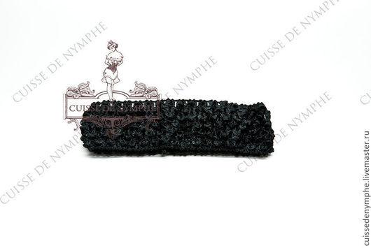 Шитье ручной работы. Ярмарка Мастеров - ручная работа. Купить Повязка на голову, черная, 6024. Handmade. Топ, топ акриловый