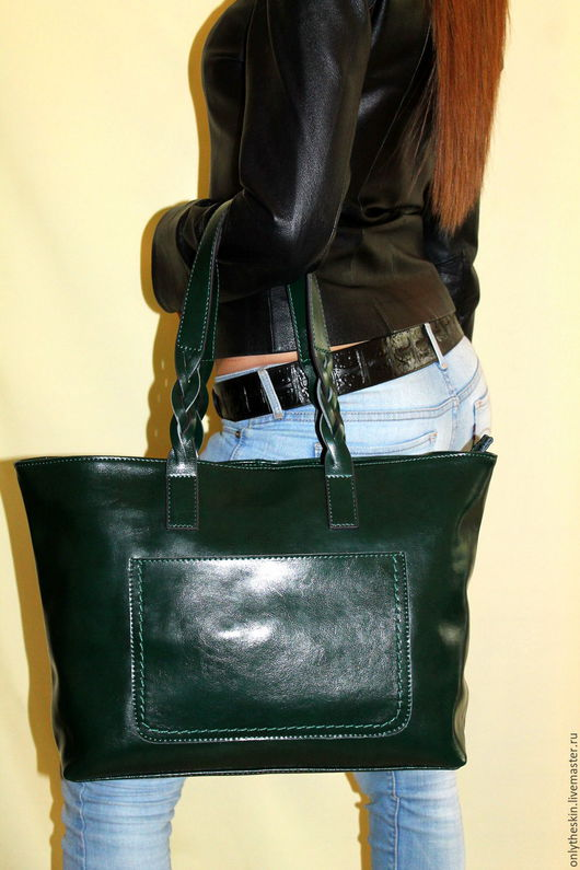 Женские сумки ручной работы. Ярмарка Мастеров - ручная работа. Купить Зеленая женская сумка из натуральной коровьей кожи. Зеленая косичка. Handmade.