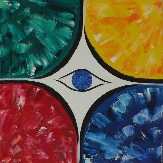 Абстракция ручной работы. Ярмарка Мастеров - ручная работа. Купить Цветной Сон. Handmade. Синий, черный, желтый, картина