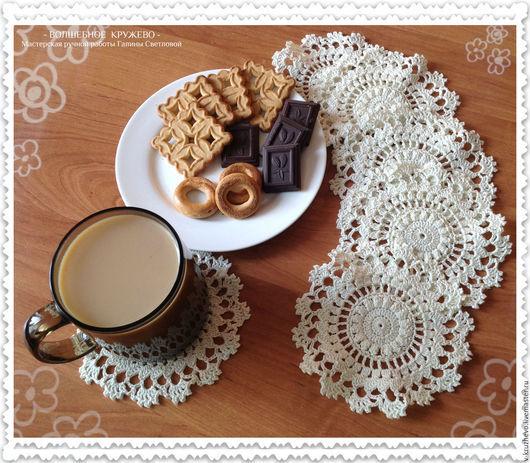 Текстиль, ковры ручной работы. Ярмарка Мастеров - ручная работа. Купить Сервировочные салфетки, набор вязаных салфеток Молочный шоколад. Handmade.