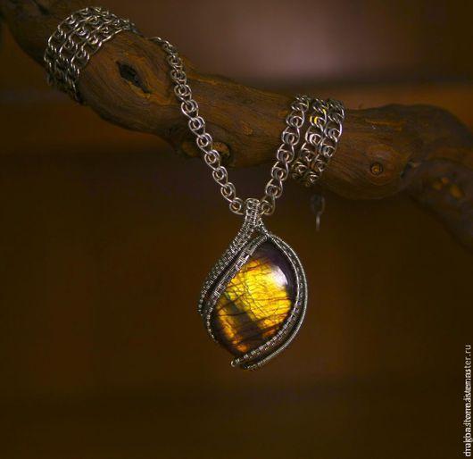 """Кулоны, подвески ручной работы. Ярмарка Мастеров - ручная работа. Купить Кулон """"Solei"""" с Лабрадоритом. Handmade. Желтый, подарок девушке"""