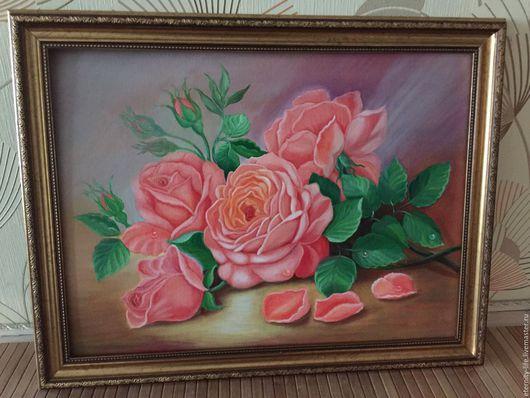 Картины цветов ручной работы. Ярмарка Мастеров - ручная работа. Купить Розы в цвету. Handmade. Кремовый, подарок девушке