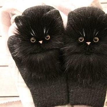 """Аксессуары ручной работы. Ярмарка Мастеров - ручная работа Звероварежки """"черные коты. Handmade."""