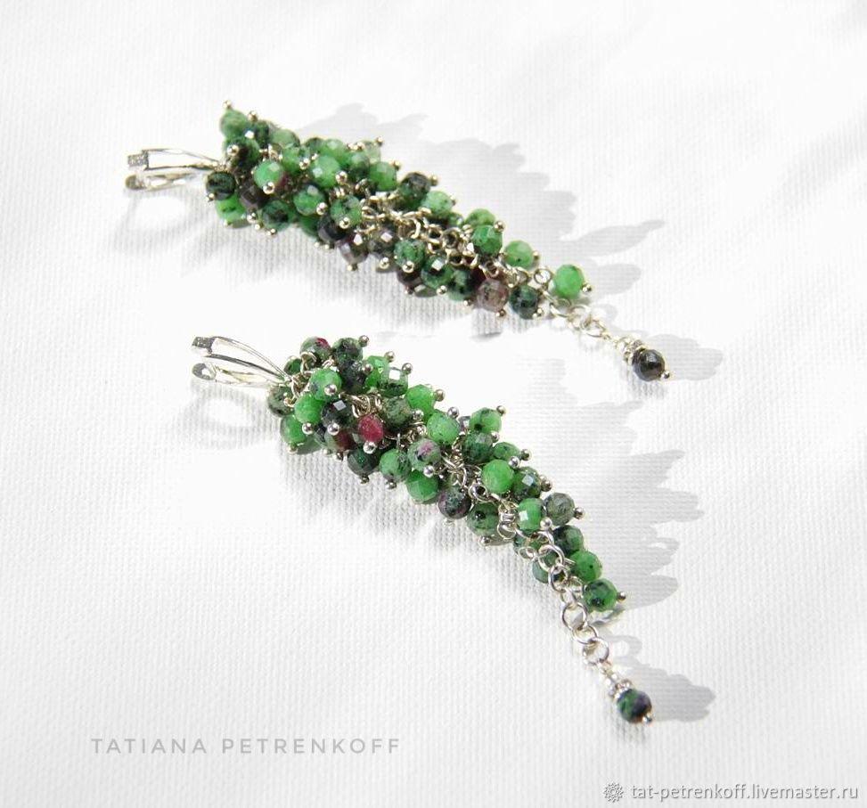 Schonbrunn cluster earrings ruby in zoisite, 925 silver, Earrings, Moscow,  Фото №1