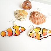 Украшения handmade. Livemaster - original item Transparent Earrings Sea Fish Clown Orange Tropics Sea Ocean. Handmade.