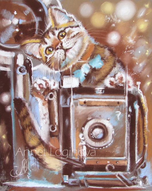 Животные ручной работы. Ярмарка Мастеров - ручная работа. Купить Птичка!. Handmade. Котенок, картина с кошкой, картина пастелью