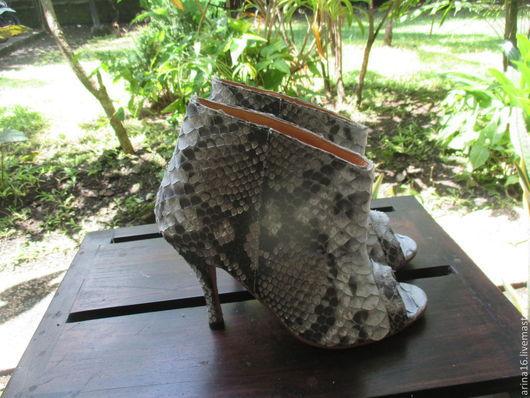 Обувь ручной работы. Ярмарка Мастеров - ручная работа. Купить Сапожки открытые. Handmade. Серый, сапожки ручной работы