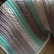 """Для дома и интерьера ручной работы. Ярмарка Мастеров - ручная работа Детский плед """"Цветные косички"""" с мятными косами. Handmade."""