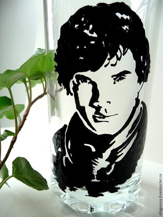 Бокалы, стаканы ручной работы. Ярмарка Мастеров - ручная работа. Купить Шерлок стакан или кружка. Handmade. Чёрно-белый