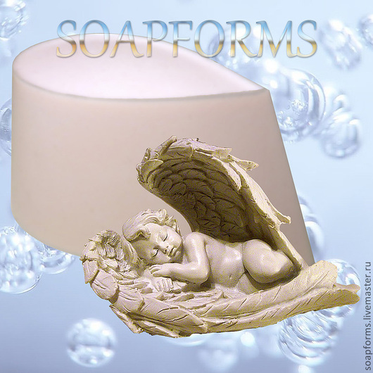 Силиконовая форма для мыла `Спящий в крыльях ангел`