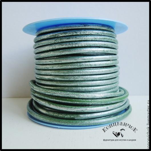 Для украшений ручной работы. Ярмарка Мастеров - ручная работа. Купить Шнур 4,5 мм зеленый в серебре Испания. Handmade.