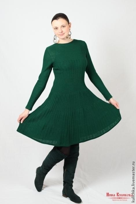 Платья ручной работы. Ярмарка Мастеров - ручная работа. Купить Платье вязаное Малахитовое. Handmade. Зеленый, дизайнерское платье