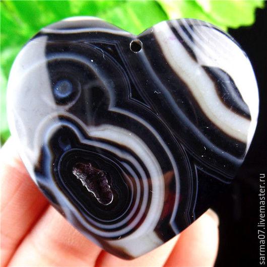 Для украшений ручной работы. Ярмарка Мастеров - ручная работа. Купить Агат  камень кулон подвеска сердце черно-белое. Handmade.