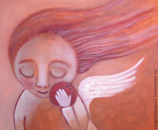 Фантазийные сюжеты ручной работы. Ярмарка Мастеров - ручная работа. Купить Картина  Яблочко  ребенок   полет ангел. Handmade. Живопись