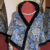 Аксессуары ручной работы. Ярмарка Мастеров - ручная работа Шаль-косынка из платка синие огурцы. Handmade.