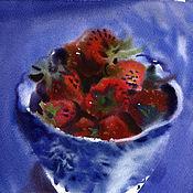 """Картины и панно ручной работы. Ярмарка Мастеров - ручная работа картина акварель """"Вечерняя клубника"""". Handmade."""