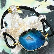 Украшения handmade. Livemaster - original item Elegant leather bracelet with a blue agate Geode. Handmade.