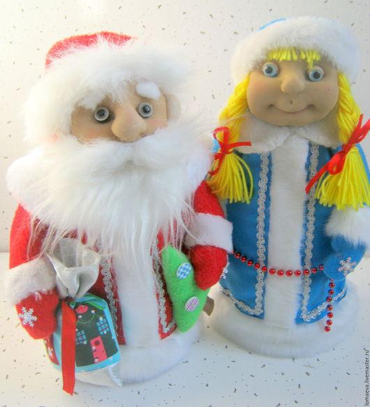 Новый год 2017 ручной работы. Ярмарка Мастеров - ручная работа. Купить Дед Мороз и Снегурушка (игрушки на шампанское или просто поиграть).. Handmade.