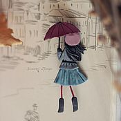 Украшения ручной работы. Ярмарка Мастеров - ручная работа Ухожу в дождь. Брошь. Handmade.