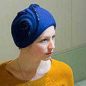 Аксессуары ручной работы. Ярмарка Мастеров - ручная работа Шляпка синяя «рококо». Handmade.