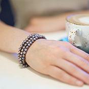 Украшения ручной работы. Ярмарка Мастеров - ручная работа Трехрядный браслет из шоколадного жемчуга 6-6,5мм АА. Handmade.