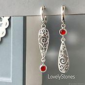 Украшения handmade. Livemaster - original item Asymmetrical Lace earrings, long, red, silver, lace. Handmade.