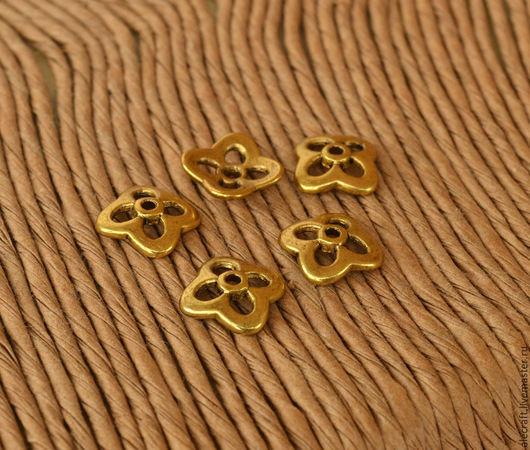 Для украшений ручной работы. Ярмарка Мастеров - ручная работа. Купить 10шт Шапочка для бусин Цветок 10,5мм ант.золото. Handmade.