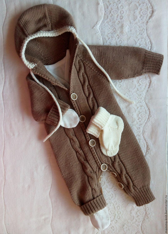 Вязанный комбинезон новорожденному