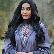 Одежда handmade. Livemaster - original item Elegant blouse with hand embroidery