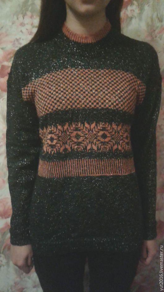 Кофты и свитера ручной работы. Ярмарка Мастеров - ручная работа. Купить Блеск. Handmade. Тёмно-зелёный, уютный свитер, спицы