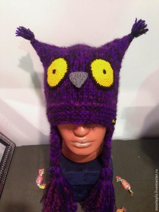 """Шапки ручной работы. Ярмарка Мастеров - ручная работа. Купить Шапка сова """"Фиолет"""". Handmade. Тёмно-фиолетовый, совошапки, филин"""