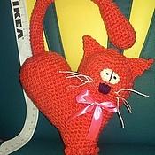 Подарки к праздникам ручной работы. Ярмарка Мастеров - ручная работа валентинка Сердце-кот. Handmade.