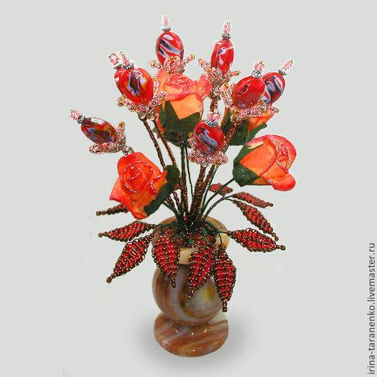 """Цветок из муранского стекла """"Нежность"""" в вазочке из оникса"""