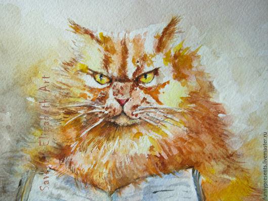 Животные ручной работы. Ярмарка Мастеров - ручная работа. Купить Акварель Рыжий кот. Грозный. Кот ученый. Для детской.. Handmade.