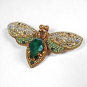 Украшения handmade. Livemaster - original item Brooch Moth Butterfly emerald gold made of beads. Handmade.
