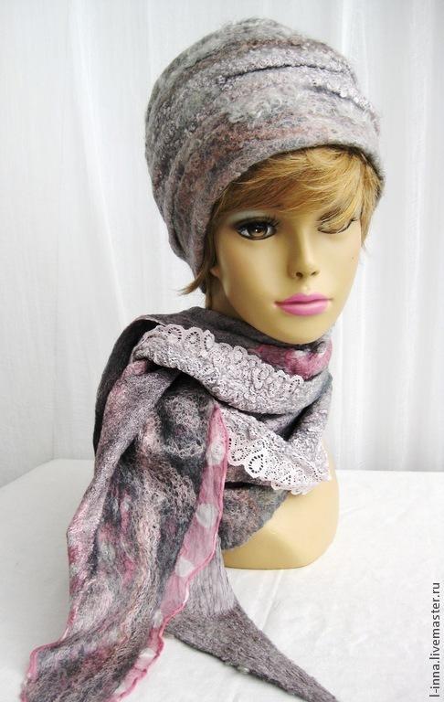 Шарфы и шарфики ручной работы. Ярмарка Мастеров - ручная работа. Купить Розовый туман  шапка и шарф- бактус валяные. Handmade.