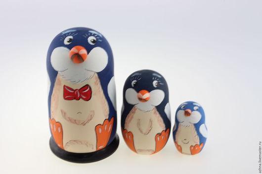 """Матрешки ручной работы. Ярмарка Мастеров - ручная работа. Купить Матрешка 3 места, """"Пингвин синий"""", 13.5 см. Handmade."""