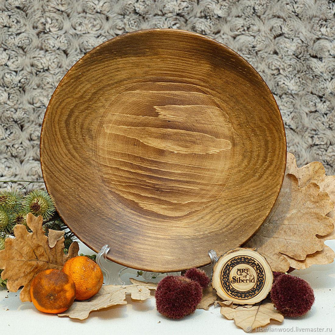 Тарелка плоская из Пихты Сибирской 25 см из дерева #T58, Тарелки, Новокузнецк,  Фото №1