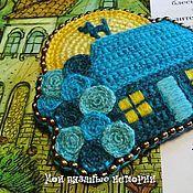 Украшения handmade. Livemaster - original item Brooch House. Turquoise night. Mixed media. Knitted embroidered.. Handmade.